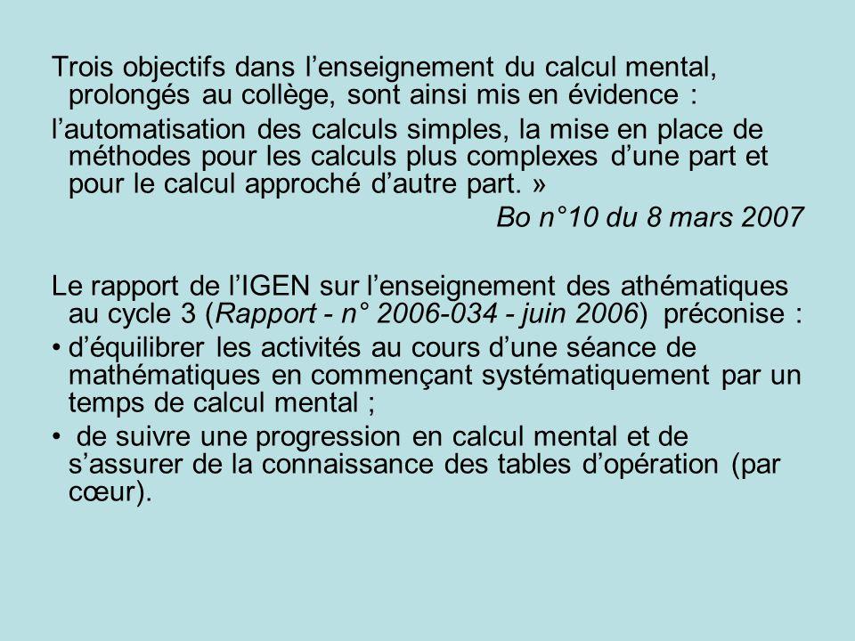 Trois objectifs dans lenseignement du calcul mental, prolongés au collège, sont ainsi mis en évidence : lautomatisation des calculs simples, la mise en place de méthodes pour les calculs plus complexes dune part et pour le calcul approché dautre part.