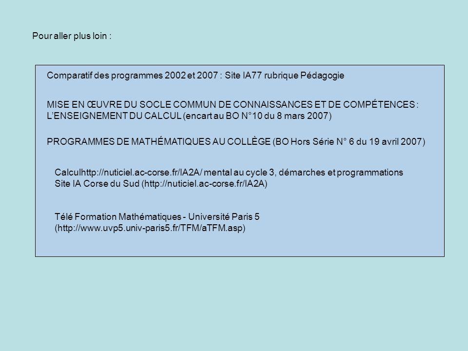Pour aller plus loin : PROGRAMMES DE MATHÉMATIQUES AU COLLÈGE (BO Hors Série N° 6 du 19 avril 2007) MISE EN ŒUVRE DU SOCLE COMMUN DE CONNAISSANCES ET DE COMPÉTENCES : LENSEIGNEMENT DU CALCUL (encart au BO N°10 du 8 mars 2007) Comparatif des programmes 2002 et 2007 : Site IA77 rubrique Pédagogie Télé Formation Mathématiques - Université Paris 5 (http://www.uvp5.univ-paris5.fr/TFM/aTFM.asp) Calculhttp://nuticiel.ac-corse.fr/IA2A/ mental au cycle 3, démarches et programmations Site IA Corse du Sud (http://nuticiel.ac-corse.fr/IA2A)