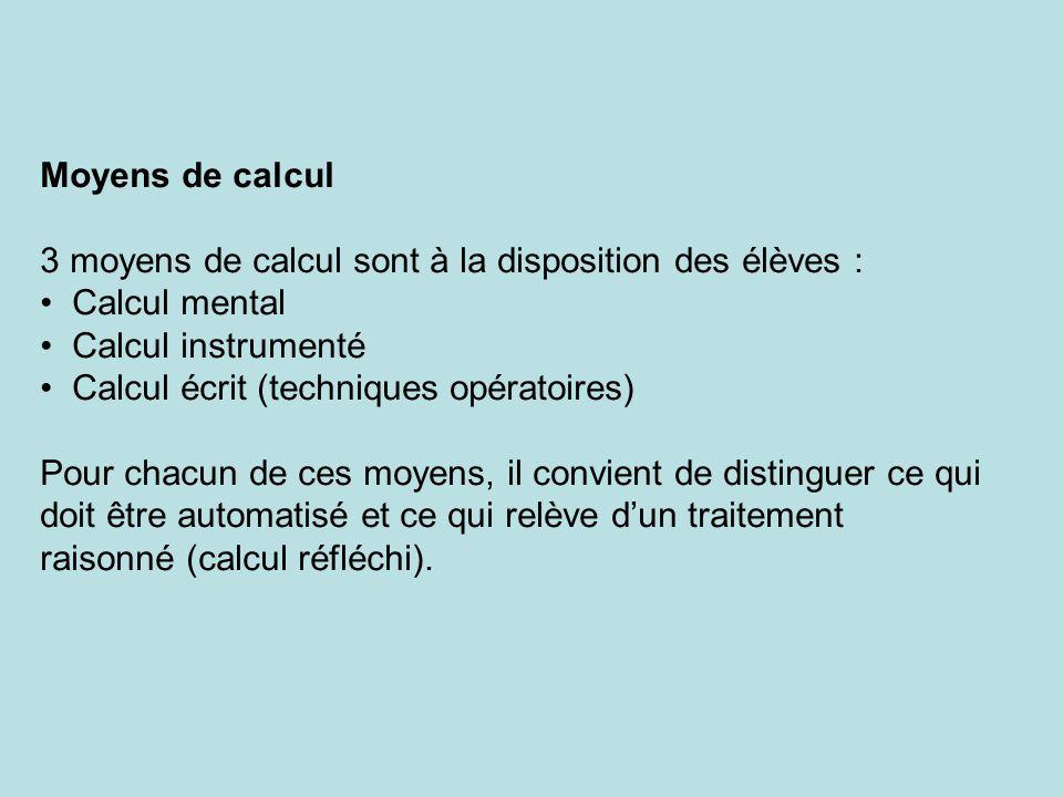 Moyens de calcul 3 moyens de calcul sont à la disposition des élèves : Calcul mental Calcul instrumenté Calcul écrit (techniques opératoires) Pour chacun de ces moyens, il convient de distinguer ce qui doit être automatisé et ce qui relève dun traitement raisonné (calcul réfléchi).