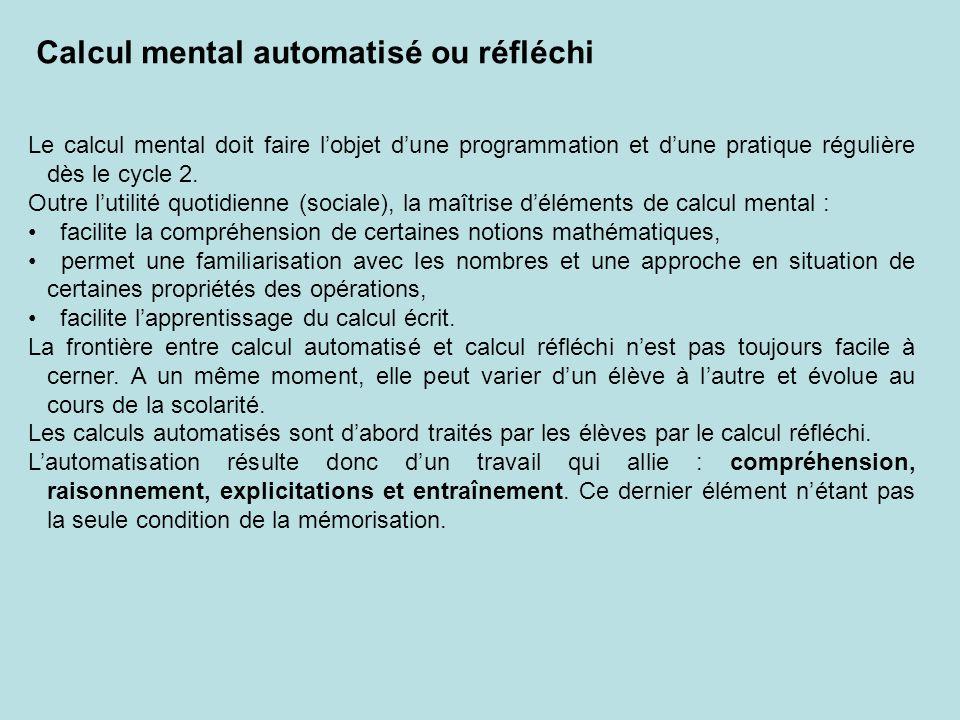 Le calcul mental doit faire lobjet dune programmation et dune pratique régulière dès le cycle 2.