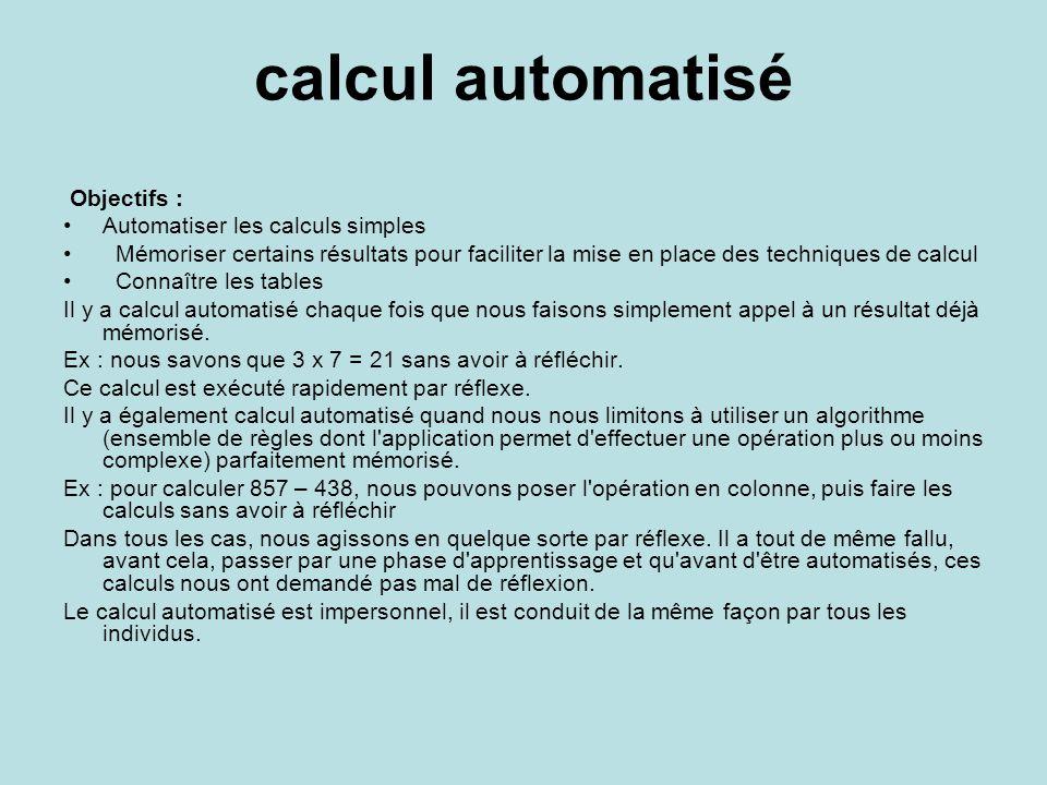 calcul automatisé Objectifs : Automatiser les calculs simples Mémoriser certains résultats pour faciliter la mise en place des techniques de calcul Connaître les tables Il y a calcul automatisé chaque fois que nous faisons simplement appel à un résultat déjà mémorisé.