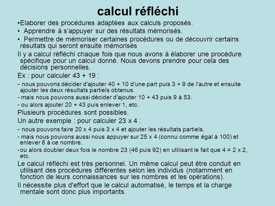 calcul réfléchi Elaborer des procédures adaptées aux calculs proposés.