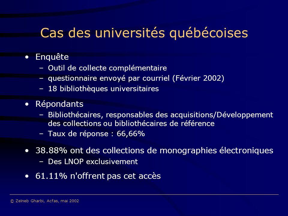 Cas des universités québécoises Enquête –Outil de collecte complémentaire –questionnaire envoyé par courriel (Février 2002) –18 bibliothèques universitaires Répondants –Bibliothécaires, responsables des acquisitions/Développement des collections ou bibliothécaires de référence –Taux de réponse : 66,66% 38.88% ont des collections de monographies électroniques –Des LNOP exclusivement 61.11% n offrent pas cet accès © Zeïneb Gharbi, Acfas, mai 2002