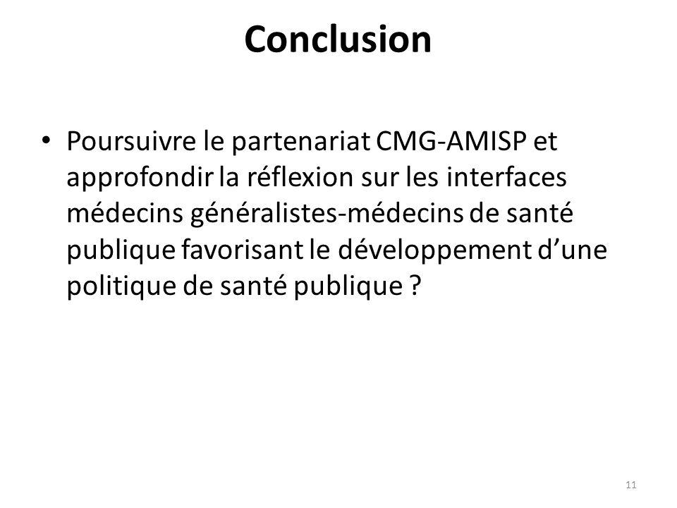 Conclusion Poursuivre le partenariat CMG-AMISP et approfondir la réflexion sur les interfaces médecins généralistes-médecins de santé publique favorisant le développement dune politique de santé publique .