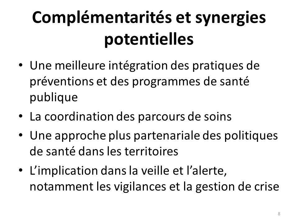 Complémentarités et synergies potentielles Une meilleure intégration des pratiques de préventions et des programmes de santé publique La coordination des parcours de soins Une approche plus partenariale des politiques de santé dans les territoires Limplication dans la veille et lalerte, notamment les vigilances et la gestion de crise 8