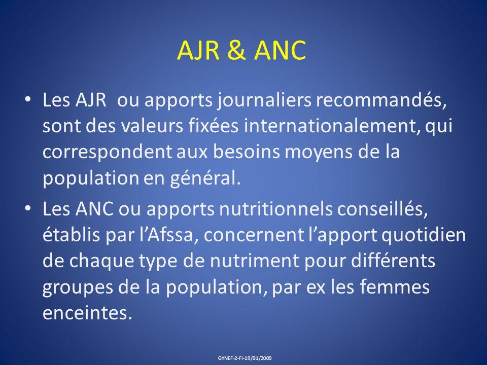 AJR & ANC Les AJR ou apports journaliers recommandés, sont des valeurs fixées internationalement, qui correspondent aux besoins moyens de la populatio