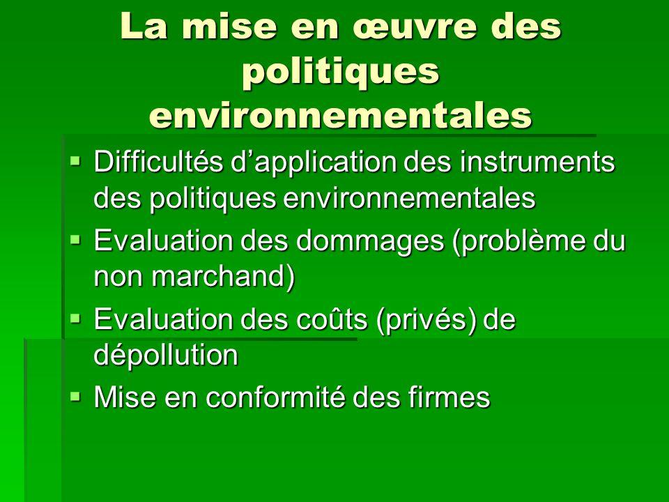 La mise en œuvre des politiques environnementales Difficultés dapplication des instruments des politiques environnementales Difficultés dapplication d