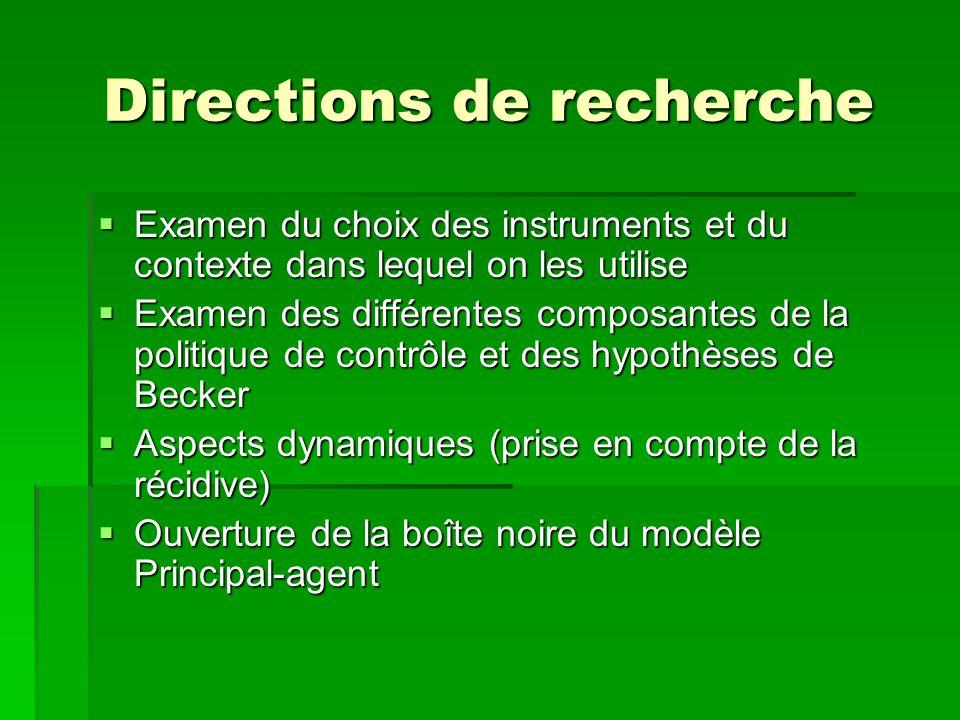 Directions de recherche Examen du choix des instruments et du contexte dans lequel on les utilise Examen du choix des instruments et du contexte dans