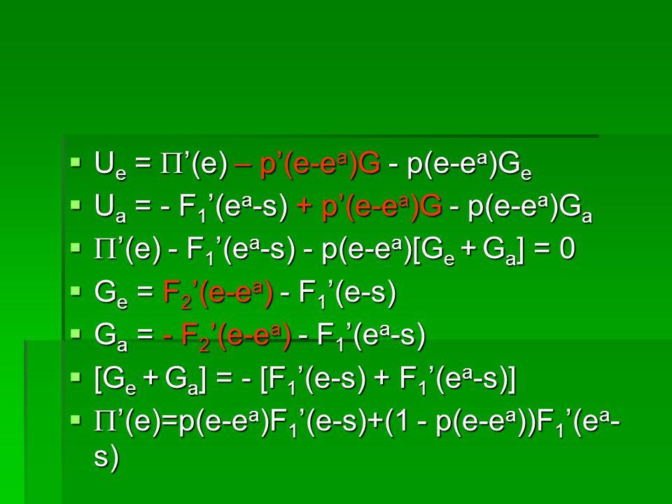 U e = (e) – p(e-e a )G - p(e-e a )G e U e = (e) – p(e-e a )G - p(e-e a )G e U a = - F 1 (e a -s) + p(e-e a )G - p(e-e a )G a U a = - F 1 (e a -s) + p(