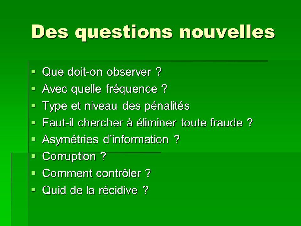 Des questions nouvelles Que doit-on observer ? Que doit-on observer ? Avec quelle fréquence ? Avec quelle fréquence ? Type et niveau des pénalités Typ