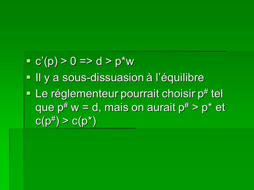 c(p) > 0 => d > p*w c(p) > 0 => d > p*w Il y a sous-dissuasion à léquilibre Il y a sous-dissuasion à léquilibre Le réglementeur pourrait choisir p # t