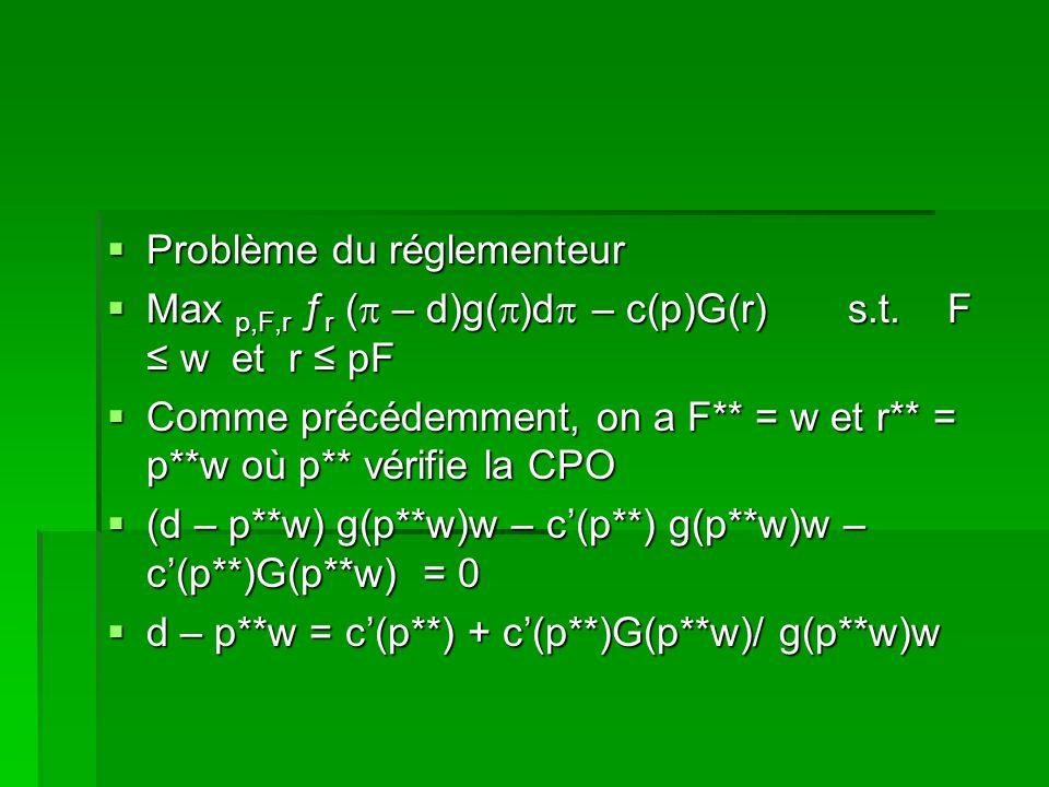 Problème du réglementeur Problème du réglementeur Max p,F,r ƒ r ( – d)g( )d – c(p)G(r) s.t. F w et r pF Max p,F,r ƒ r ( – d)g( )d – c(p)G(r) s.t. F w