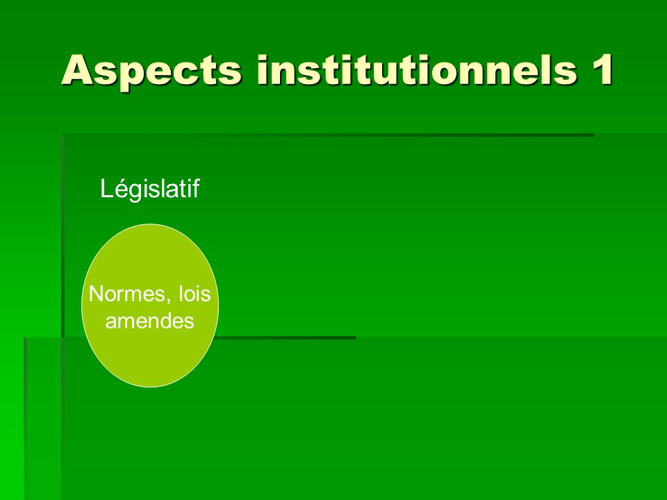 Aspects institutionnels 1 Normes, lois amendes Législatif