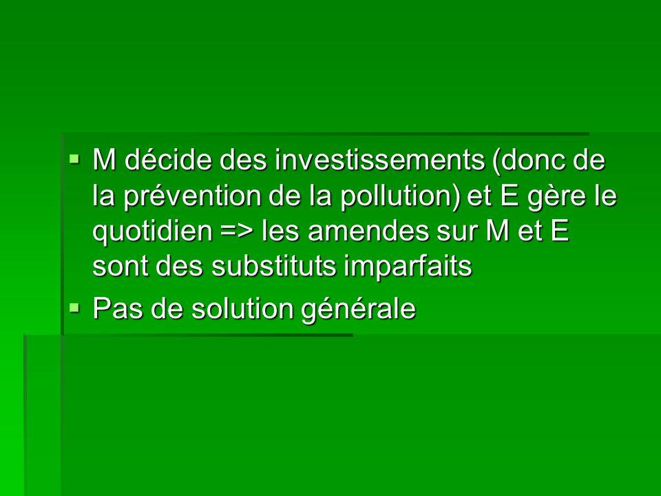 M décide des investissements (donc de la prévention de la pollution) et E gère le quotidien => les amendes sur M et E sont des substituts imparfaits M