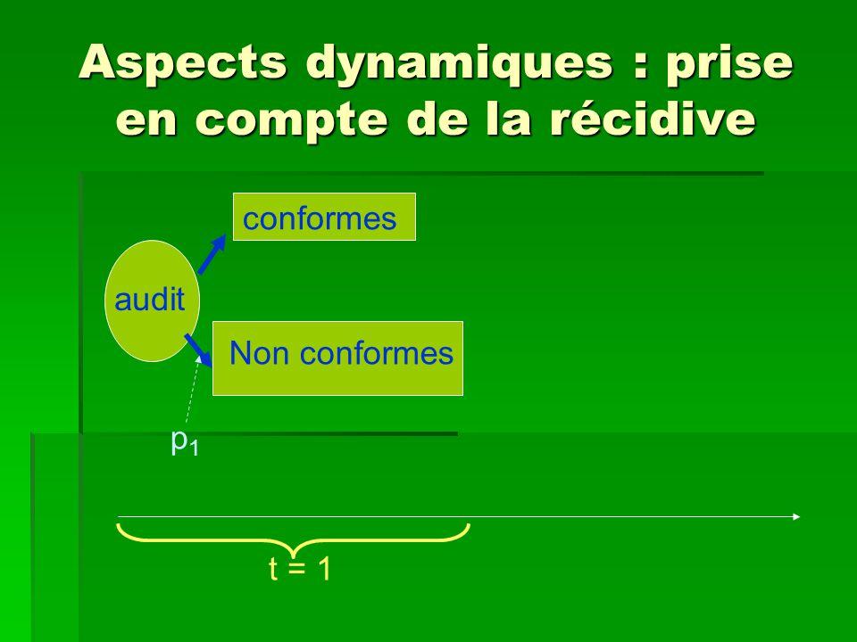 Aspects dynamiques : prise en compte de la récidive audit conformes Non conformes t = 1 p1p1