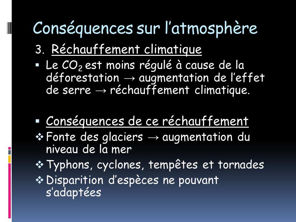 Conséquences sur latmosphère 3. Réchauffement climatique Le CO 2 est moins régulé à cause de la déforestation augmentation de leffet de serre réchauff