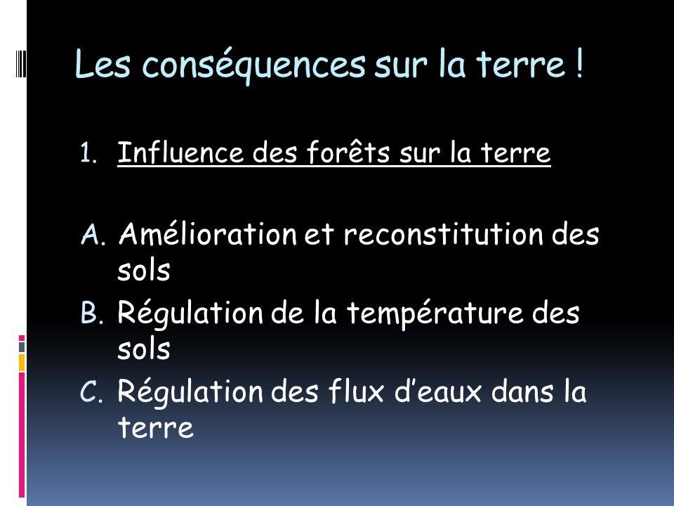 Les conséquences sur la terre ! 1. Influence des forêts sur la terre A. Amélioration et reconstitution des sols B. Régulation de la température des so