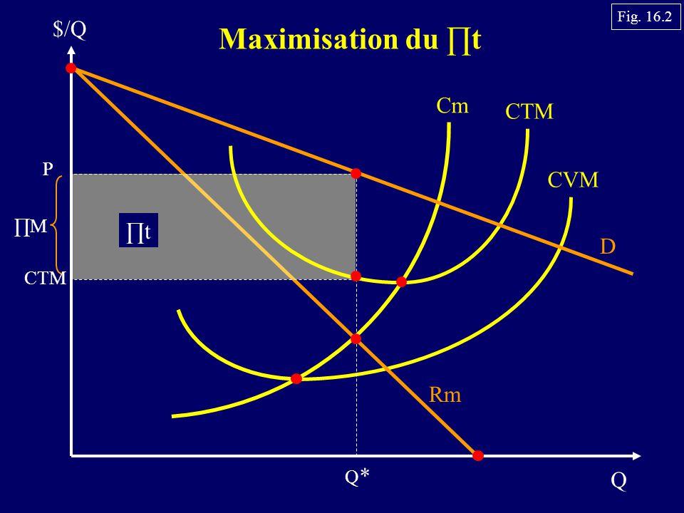Q $/Q Maximisation du t Cm CTM CVM P CTM t D Rm Q*Q* M Fig. 16.2