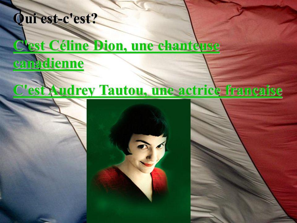 Qui est-c'est? C'est Céline Dion, une chanteuse canadienne C'est Céline Dion, une chanteuse canadienne C'est Audrey Tautou, une actrice française C'es