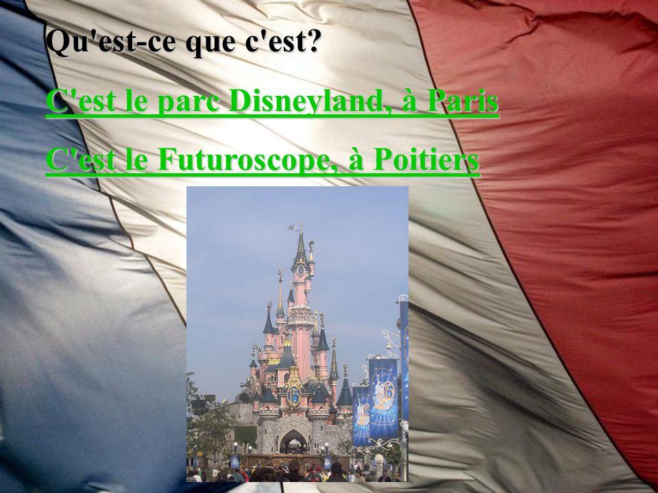 Qu'est-ce que c'est? C'est le parc Disneyland, à Paris C'est le parc Disneyland, à Paris C'est le Futuroscope, à Poitiers C'est le Futuroscope, à Poit