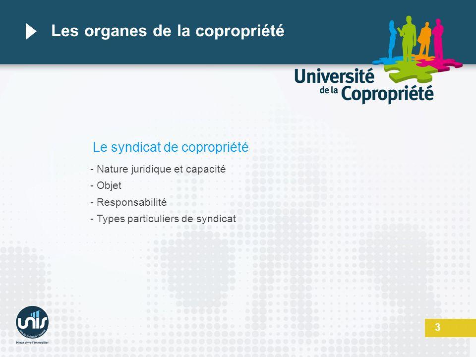 3 Les organes de la copropriété Le syndicat de copropriété - Nature juridique et capacité - Objet - Responsabilité - Types particuliers de syndicat