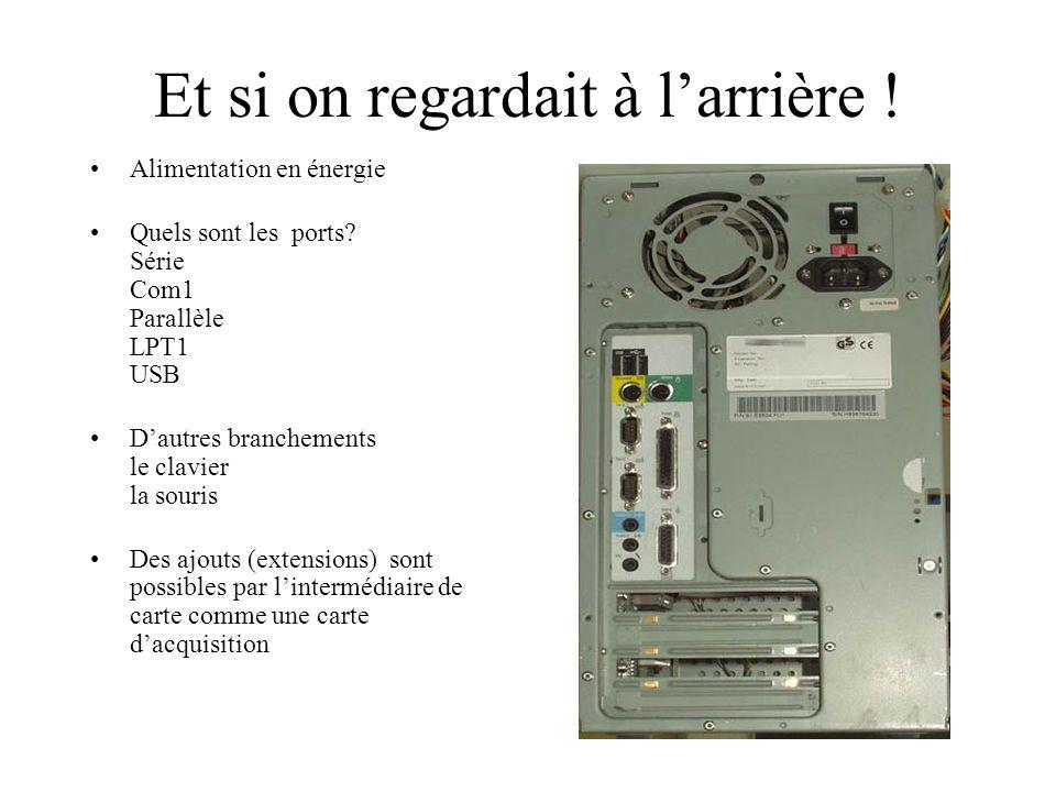 Un ensemble classique…. Unité centrale Ecran Imprimante Clavier Souris Lecteur de CD Lecteur de disquette… Connaissez vous dautres périphériques? Il y