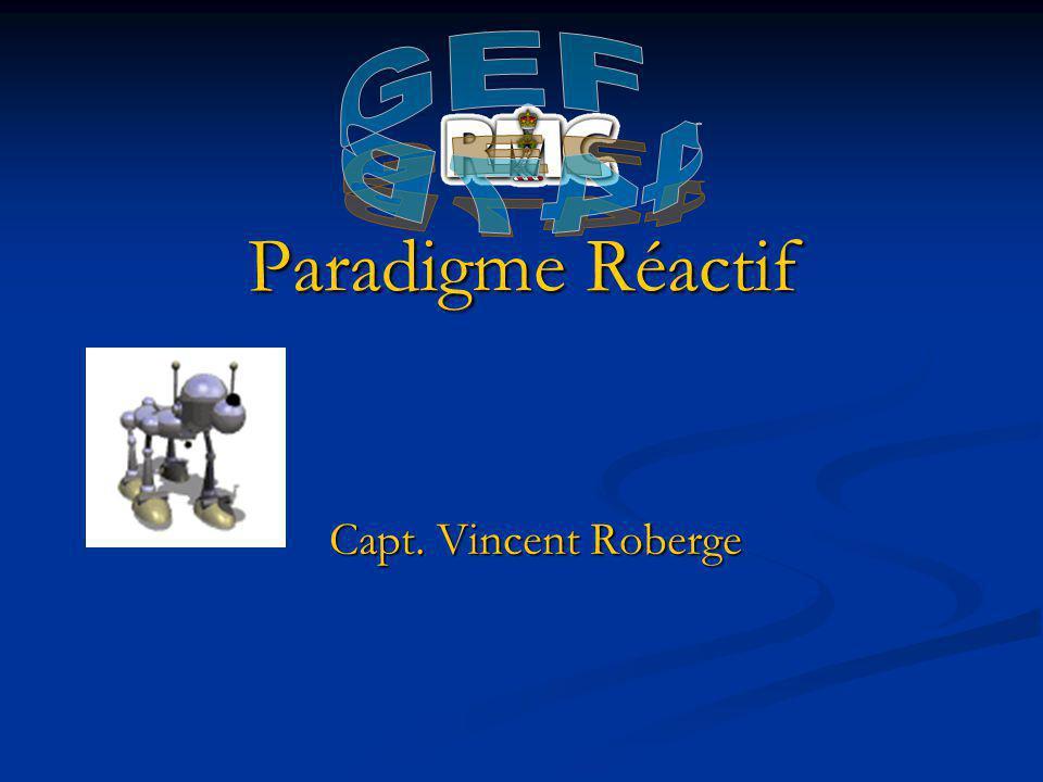 Aperçue Paradigme Réactif Paradigme Réactif Architecture Réactive Subsumption Architecture Réactive Subsumption Exemple Exemple Implémentation Réactive Subsumption Implémentation Réactive Subsumption
