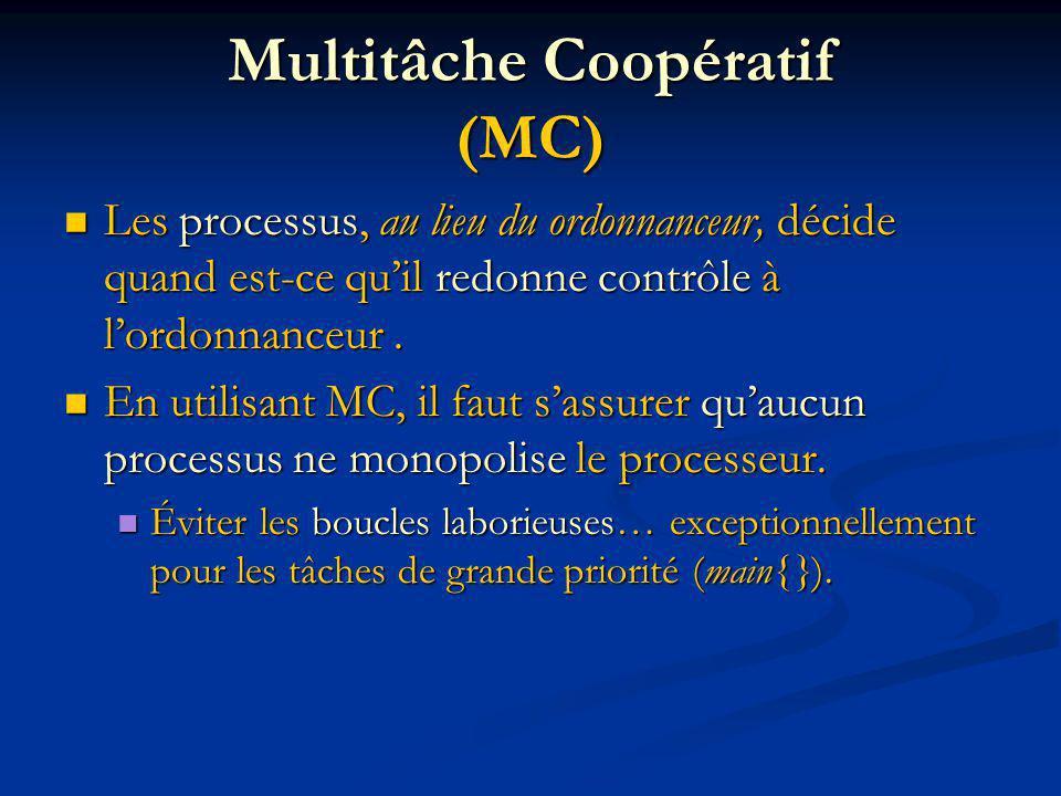 Multitâche Coopératif (MC) Les processus, au lieu du ordonnanceur, décide quand est-ce quil redonne contrôle à lordonnanceur.