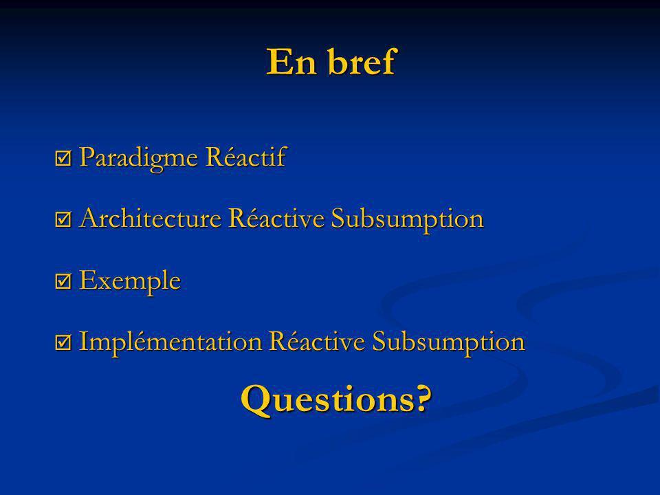 En bref Paradigme Réactif Paradigme Réactif Architecture Réactive Subsumption Architecture Réactive Subsumption Exemple Exemple Implémentation Réactive Subsumption Implémentation Réactive Subsumption Questions?