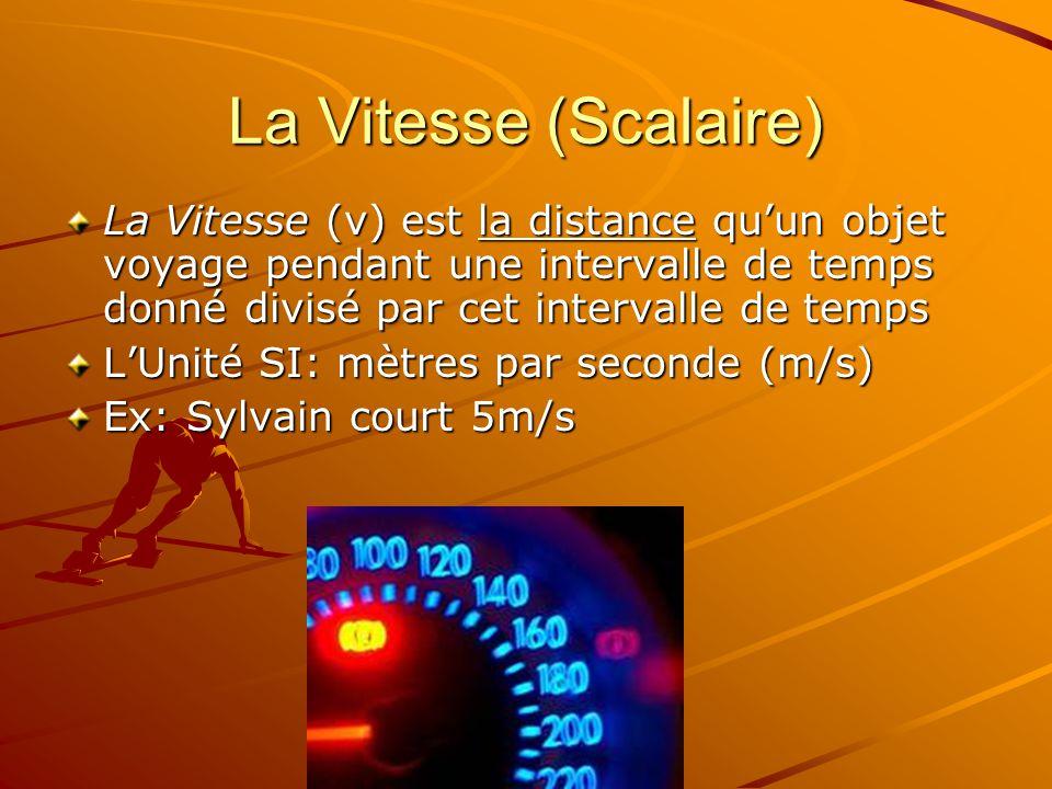La Vitesse (Scalaire) La Vitesse (v) est la distance quun objet voyage pendant une intervalle de temps donné divisé par cet intervalle de temps LUnité SI: mètres par seconde (m/s) Ex: Sylvain court 5m/s
