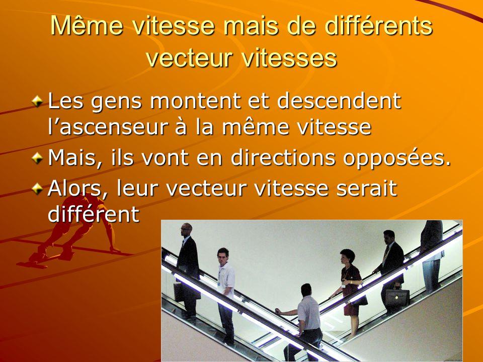 Même vitesse mais de différents vecteur vitesses Les gens montent et descendent lascenseur à la même vitesse Mais, ils vont en directions opposées.