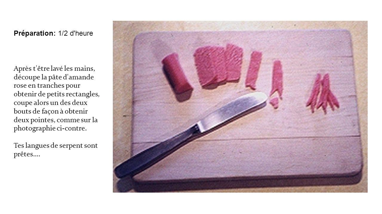 Préparation: 1/2 d heure Après t être lavé les mains, découpe la pâte d amande rose en tranches pour obtenir de petits rectangles, coupe alors un des deux bouts de façon à obtenir deux pointes, comme sur la photographie ci-contre.