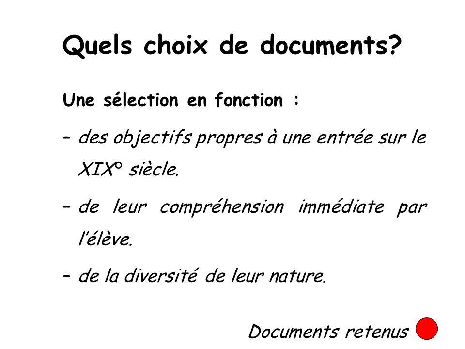 Quels choix de documents? Une sélection en fonction : –des objectifs propres à une entrée sur le XIX° siècle. –de leur compréhension immédiate par lél