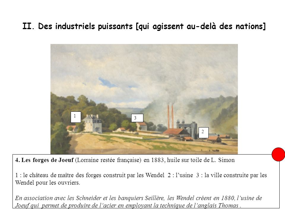 II. Des industriels puissants [qui agissent au-delà des nations] 4. Les forges de Joeuf (Lorraine restée française) en 1883, huile sur toile de L. Sim