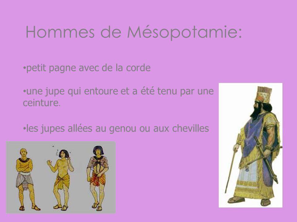 Hommes de Mésopotamie: petit pagne avec de la corde une jupe qui entoure et a été tenu par une ceinture. les jupes allées au genou ou aux chevilles