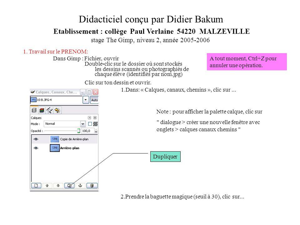 1. Travail sur le PRENOM: Dans Gimp : Fichier, ouvrir Double-clic sur le dossier où sont stockés les dessins scannés ou photographiés de chaque élève