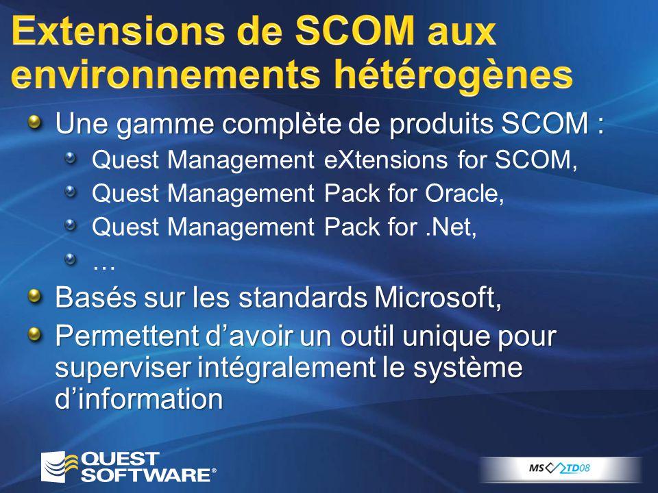 Une gamme complète de produits SCOM : Quest Management eXtensions for SCOM, Quest Management Pack for Oracle, Quest Management Pack for.Net, … Basés s