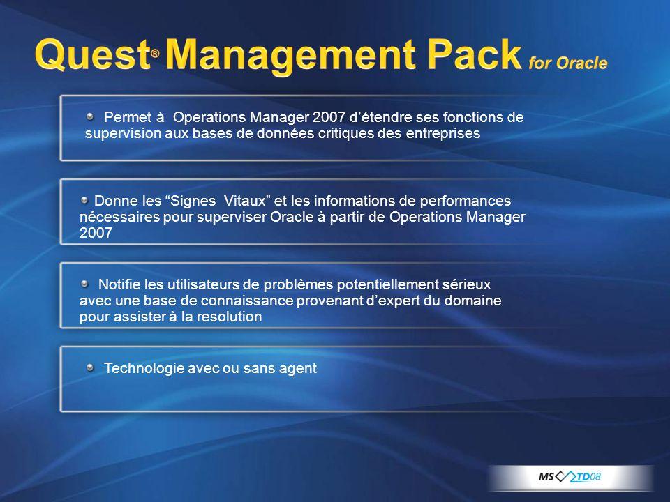 Permet à Operations Manager 2007 détendre ses fonctions de supervision aux bases de données critiques des entreprises Donne les Signes Vitaux et les i