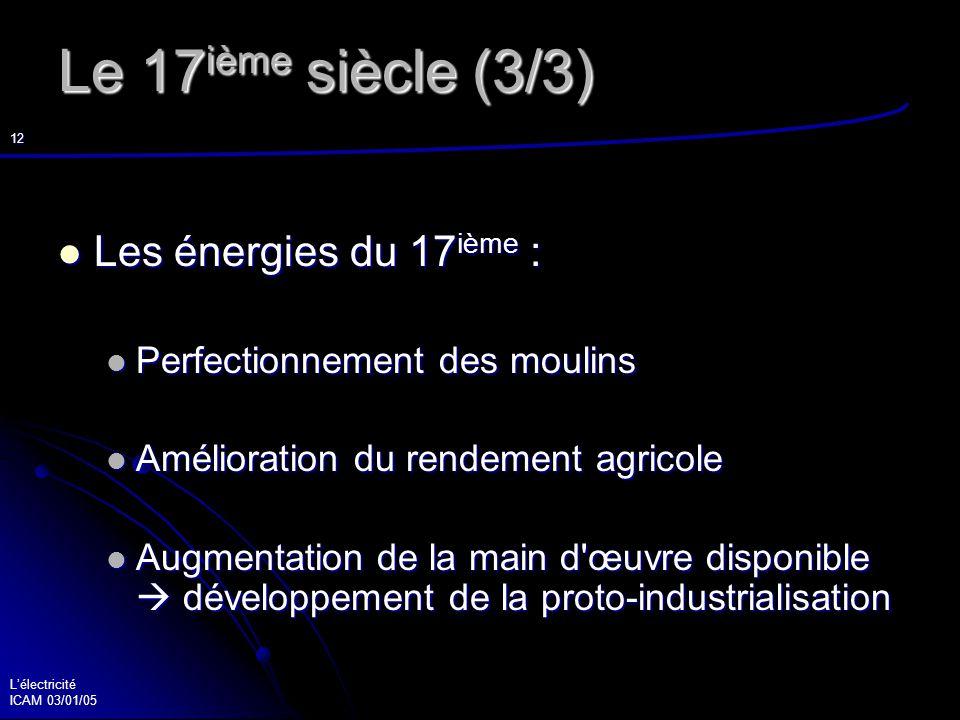 Lélectricité ICAM 03/01/05 13 Le 18 ième siècle (1/4) Des découvertes scientifiques Des découvertes scientifiques Des amusements de salons Des amusements de salons La bouteille de Leyde La bouteille de Leyde