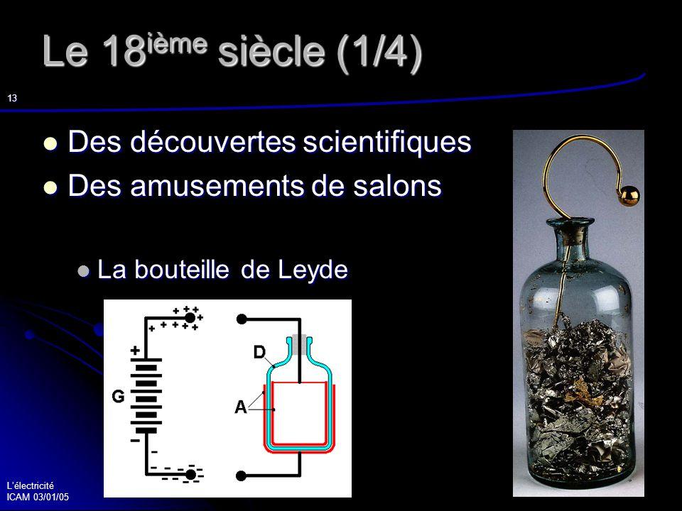 Lélectricité ICAM 03/01/05 14 Le 18 ième siècle (2/4) Abbé Nollet (1700-1770) Abbé Nollet (1700-1770) Je veux vous communiquer une expérience nouvelle, mais terrible, que je ne vous conseil- le pas de tenter vous même.