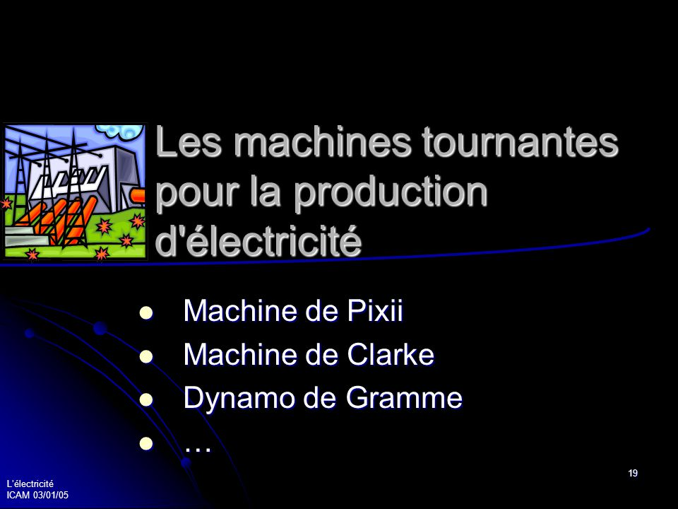 Lélectricité ICAM 03/01/05 19 Les machines tournantes pour la production d'électricité Machine de Pixii Machine de Pixii Machine de Clarke Machine de