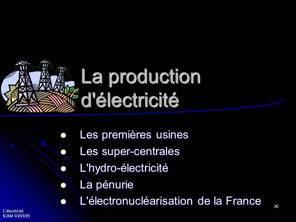 Lélectricité ICAM 03/01/05 21 Les premières usines électriques 1900 les premiers turbo-alternateurs 1900 les premiers turbo-alternateurs 1914 Saint Denis produit 60 MW 1914 Saint Denis produit 60 MW