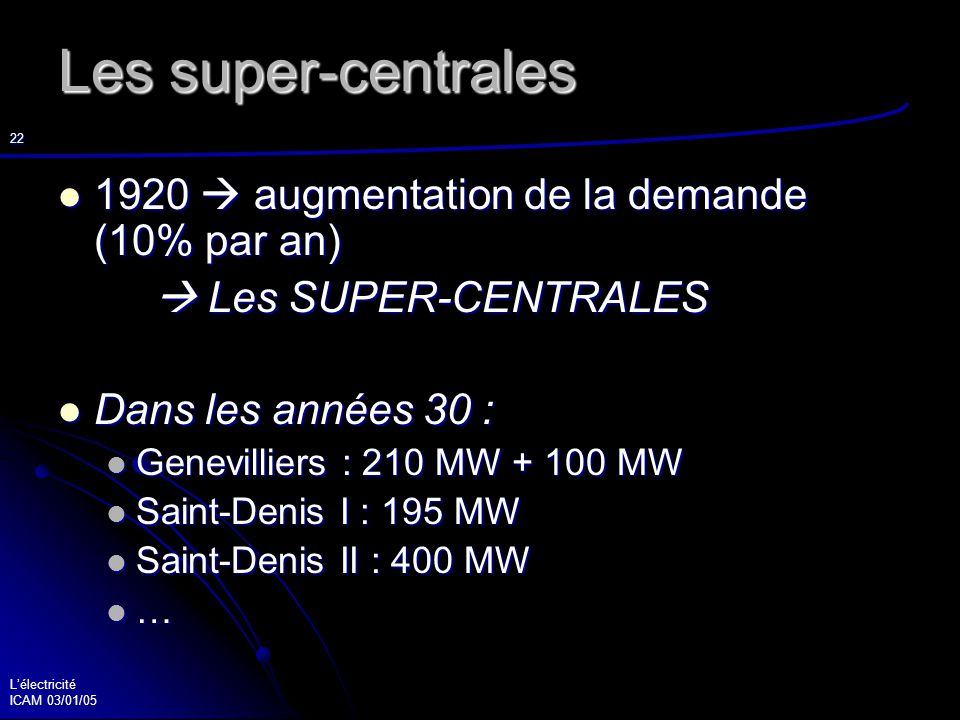 Lélectricité ICAM 03/01/05 23 L hydro-électricité Des installations indépendantes Des installations indépendantes 1908 Projet de Génissiat : relier le Rhône à la région parisienne (500 km) 1908 Projet de Génissiat : relier le Rhône à la région parisienne (500 km) 1938 programme 1938 programme national : 1945 barrage de 1945 barrage de l Aigle sur la Dordogne
