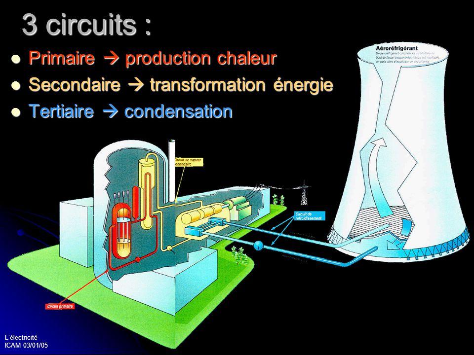 Lélectricité ICAM 03/01/05 31 Le circuit primaire Dans un réacteur, il y a : Dans un réacteur, il y a : le combustible le combustible le modérateur le modérateur le fluide caloporteur le fluide caloporteur Détermination de la filière Détermination de la filière