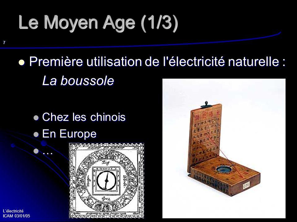 Lélectricité ICAM 03/01/05 8 Le Moyen Age (2/3) Les énergies du Moyen Age : Les énergies du Moyen Age : L énergie animale : les chevaux et les bœufs L énergie animale : les chevaux et les bœufs L énergie humaine L énergie humaine Les moulins à eau Les moulins à eau