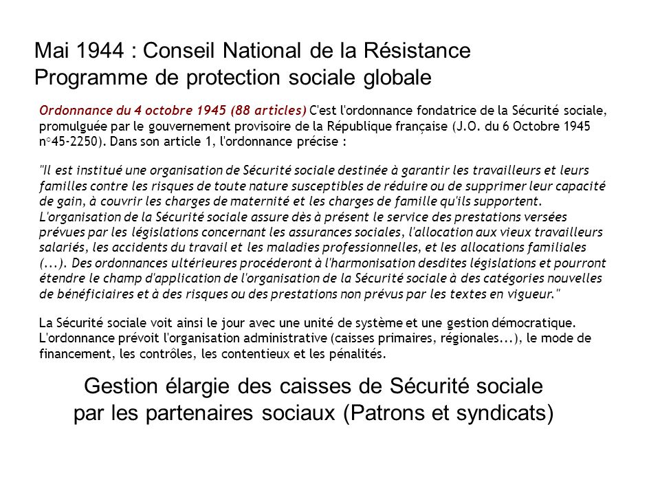 Mai 1944 : Conseil National de la Résistance Programme de protection sociale globale Ordonnance du 4 octobre 1945 (88 articles) C'est l'ordonnance fon