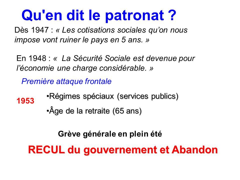 Dès 1947 : « Les cotisations sociales quon nous impose vont ruiner le pays en 5 ans. » En 1948 : « La Sécurité Sociale est devenue pour léconomie une