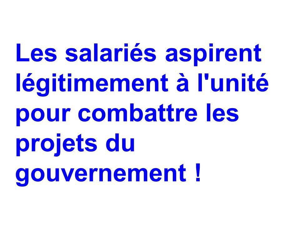 Les salariés aspirent légitimement à l'unité pour combattre les projets du gouvernement !