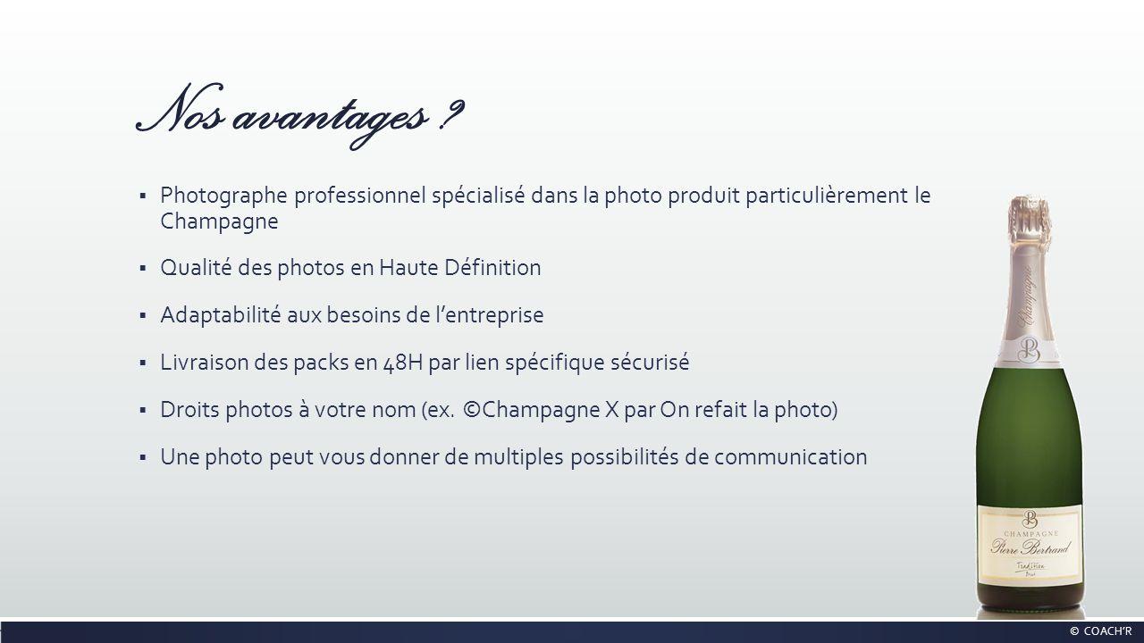 Nos avantages ? Photographe professionnel spécialisé dans la photo produit particulièrement le Champagne Qualité des photos en Haute Définition Adapta