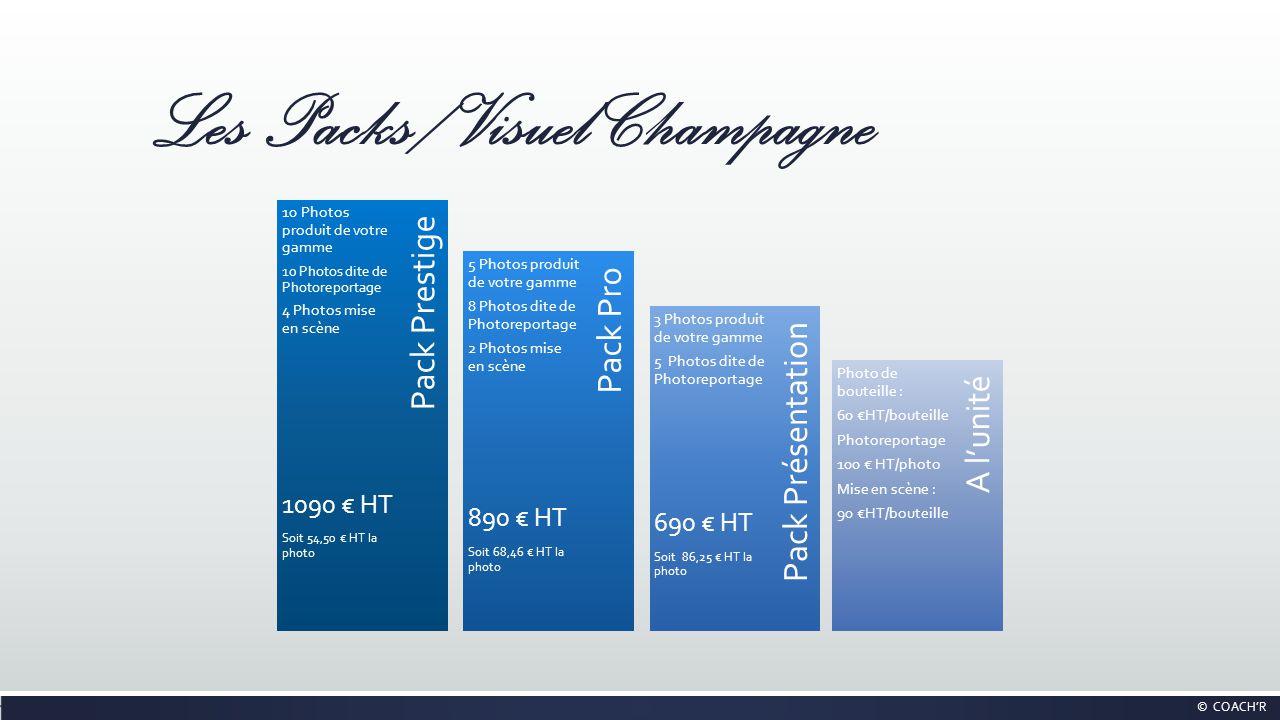 Les Packs / Visuel Champagne Pack Présentation Pack Pro A lunité Pack Prestige 10 Photos produit de votre gamme 10 Photos dite de Photoreportage 4 Pho